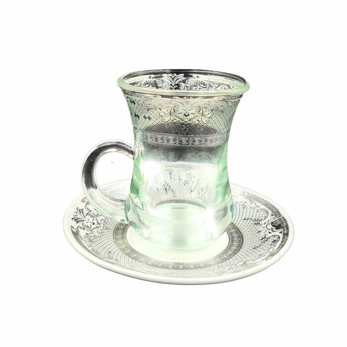 tasse et sous tasse argentée