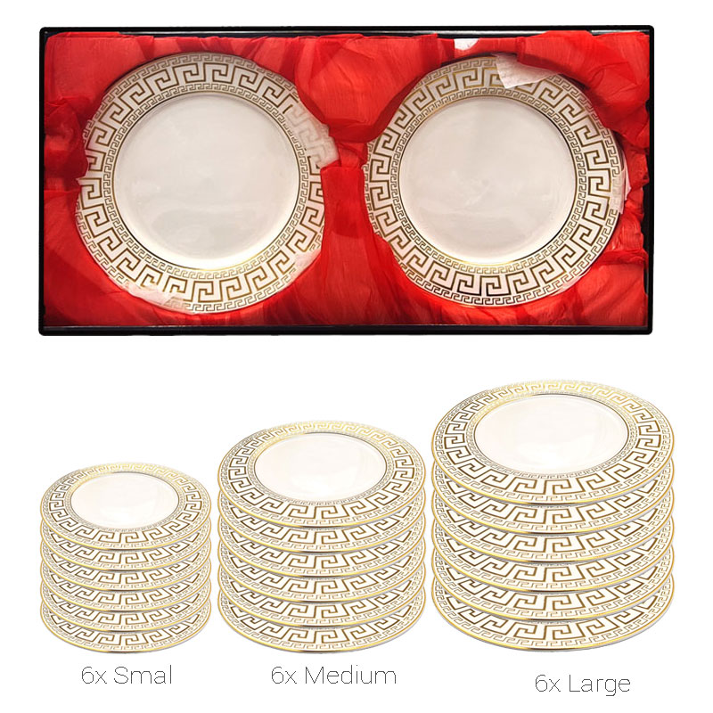Set assiettes motifs dorés (18 pcs)