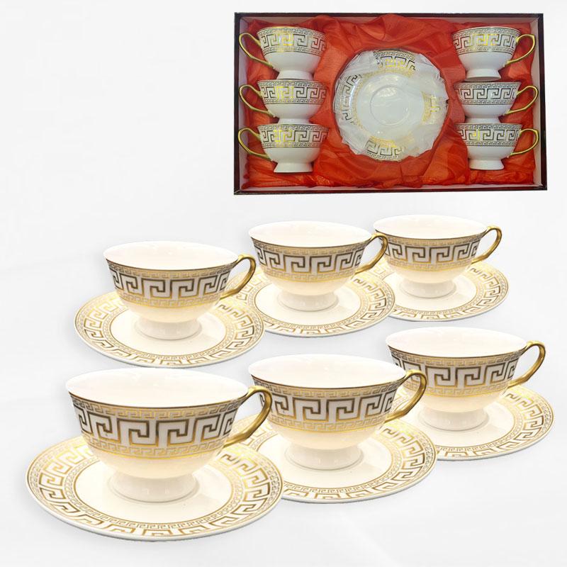 Set 6 tasses avec soucoupes (motifs dorés)